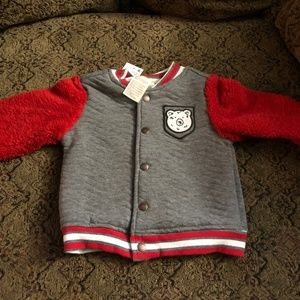 NWT First Impressions Gray/Red Jacket Boys 18 mos